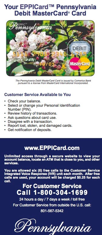 Eppicard PA (Pennsylvania) Eppicard Customer Service and Account Login PA child support check balance