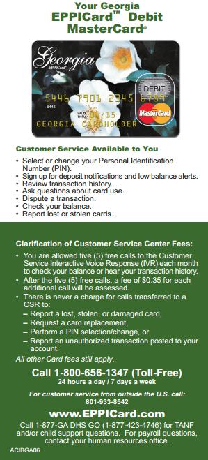 Eppicard GA (Georgia) Eppicard Customer Service and Account Login GA child support check balance