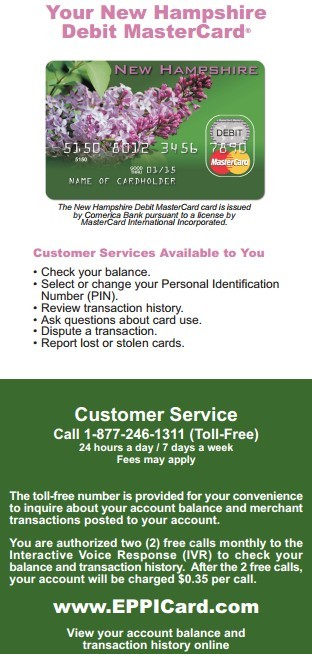 Eppicard NH (New Hampshire) Eppicard Customer Service and Account Login NH child support check balance