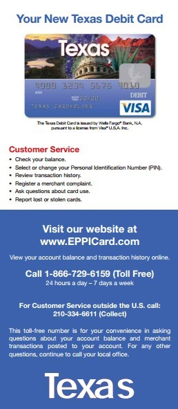 Eppicard TX (Texas) Eppicard Customer Service and Account Login TX child support check balance